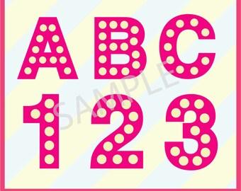 """Instant Download, Marquee, Lightbox, SVG Monogram Font,  Alphabet, Number, Symbol,  SVG, DXF Formats,  8.5x11"""" sheet,  Printable 064"""