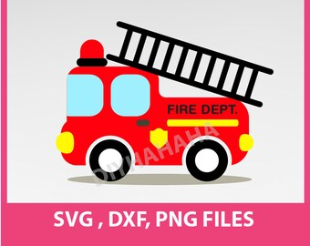 "Instant Download, Fire Truck, SVG, DXF, PNG Formats,  8.5x11"" sheet,  Printable 0042"