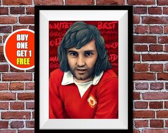 Manchester United print, George Best, Old Trafford, Man Utd