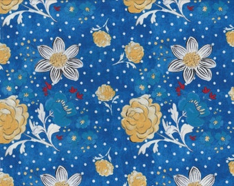 SALE - French Hen - Per Yd - Molly Hatch for Blend Fabrics - Get Your Chicken ON! Flowers on Blue