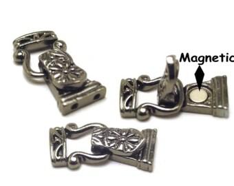 Fold Over Gun Metal Magnetic Clasps Closures1213blk-blk