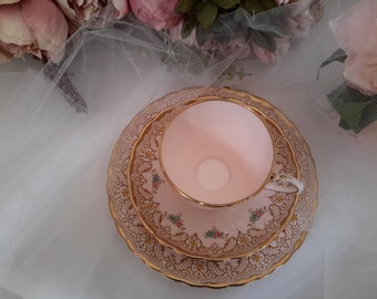 English Vintage Tuscan Pink Hand Finished Teacup, Saucer, Plate