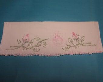 Vintage pillowcase rosebud pillowcase embroidered pillowcase valentine pillowcase heirloom pillowcase rose bed linen vintage bed linen