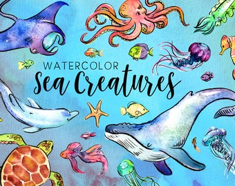 Watercolor Sea Creatures Clipart Set - High Res, PNG, Whales, Fish, Sea Turtles, Jellyfish, Ocean, Dolphin