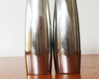 Pair of Dansk Stainless Steel Salt and Pepper Shaker Set, Mid Century Danish Vintage