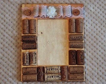 Wine cork picture frame - ready to ship
