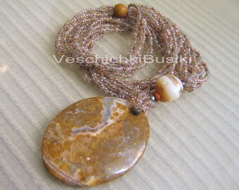 """20"""" Beautiful seed beads Sandstone necklace"""