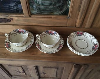 1930s Antique Wedgwood Consall Pattern Fine Bone China Cups and Saucers