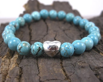 Bracelet heart and turquoise
