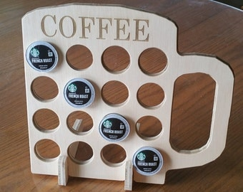 Wooden K Cup Holder / Display with Coffee laser engraved Made In The USA Only 6.95