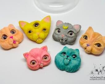 SALE! | Cat | Polymer clay | Brooch | Beautiful handmade jewellery feline animal totem | Summer