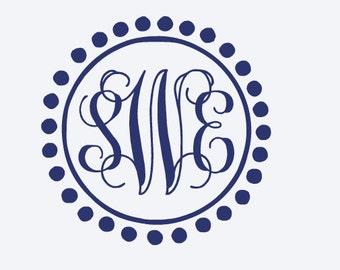Vine Monogram Decal, Custom Decal