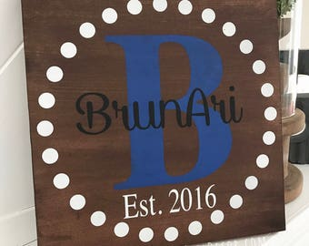 Circle Monogram Personalized Stained Rustic Home Decor Office Gift
