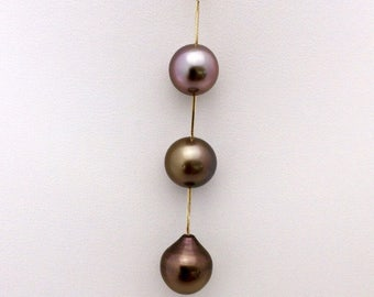 On Sale! 20% Off - 10/10.5/11mm Genuine Tahitian Pearl Pendant set on a 14k Yellow Gold Bail