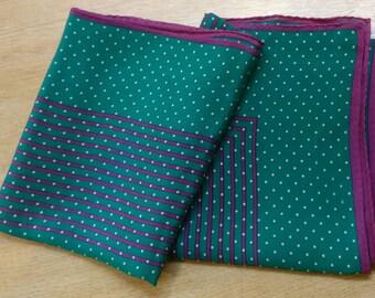 POLKADOT design 100% silk, vintage scarf in turquoise, purple and white (polka-dot)
