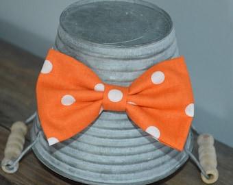 Orange and White Polka Dot Hair Bow