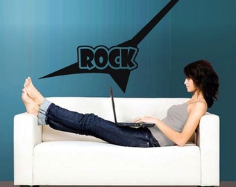 rvz2766 Wall Vinyl Decal Sticker Bedroom Decal Rock Guitar Words Quote Sign