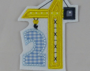 embroidered birthday number 2 with crane, patches, application