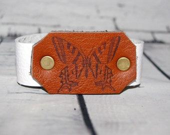 White & Tan Australian Leather Wrist Cuff BUTTERFLY Bracelet Design Ooak, Hemp, Brass Rivets, Cute Animal Jewellery, Adjustable to 2 sizes