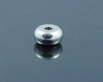 Flat Round 304 Stainless Steel Beads. 10x5mm. Hole 3mm