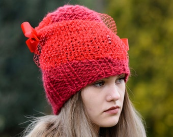 Women's Hat,, Winter red Women Hat Slouchy Beanie,   Winter Hat,  Slouchy Beanie, Knit Winter Hats,  Women Romantic hat, OOAK, Ready to ship
