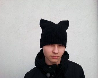 Black Cat Hat,  Cat Hat, Tom Cat Hat,  Knit Hat, Halloween cat hat , Winter Cat Hat,  Black Tom Hat, Handmade Hats,    Ready to ship