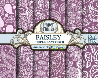 Purple Lavender Paisley Digital Paper, Purple Lavender Digital Indian Pattern - Circles Scrapbook Paper with Printable Paisley Download