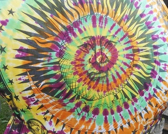 Huge sun and Moon hand dyed one of a kind tapestry goddess sun and Moon tapestry wall hanging tie dye multi color