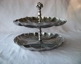 Vintage Aluminum Two Tier Snack Tray