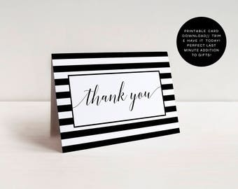 Thank You Card, Printable Card, Instant Download, Thank You Cards, Black And White, Typography, Thank You Note, Card Printable, Card, Thanks