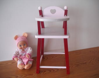 Small baby doll or doll high chair