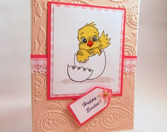 Easter Card, Happy Easter, handmade card, baby chick card, Easter greeting card, pink card, Easter chick, Spring card, MADE TO ORDER