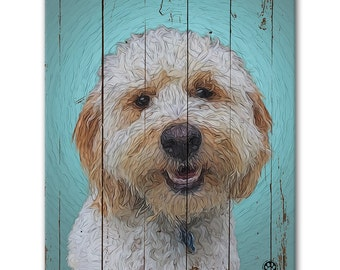 "8"" X 10"" Custom Pet Portrait Canvas Wrap (Rustic Style)"