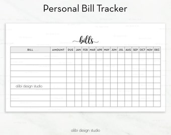 Bill Tracker, Personal Planner Inserts, Printable Planner, Bill Inserts, Finance Planner, Bill Calendar, Monthly Tracker, Bill Organizer