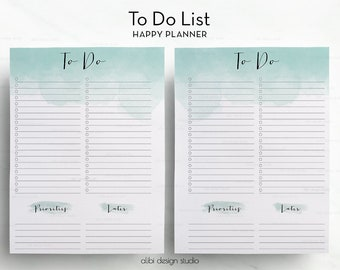 To Do List • Happy Planner Printable • To Do List • MAMBI Insert • Daily Organizer • Watercolor Printable • To Do • Happy Planner Insert