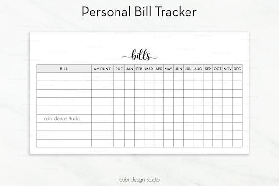 bill tracker personal planner printable bill inserts