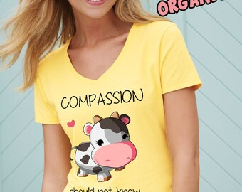 Ladies traditional V-neck Long T-shirt - COMPASSION - Light yellow