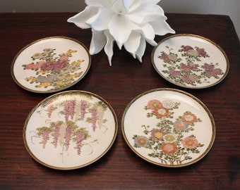 20% OFF SALE!!   Set of Four Satsuma Saucers / Plates Hand Painted Floral Patterns