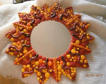 MIRROR decorated with polymer clay and crystals