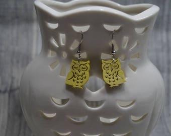 Yellow earrings OWL