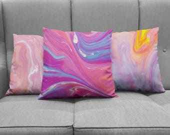 Bright Marble Throw Pillows | decorative accent pillows in trendy marbled ink patterns and bright, fun colors