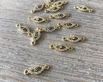 Pave rhinestone eye connector-diy jewelry-jewelry supplies