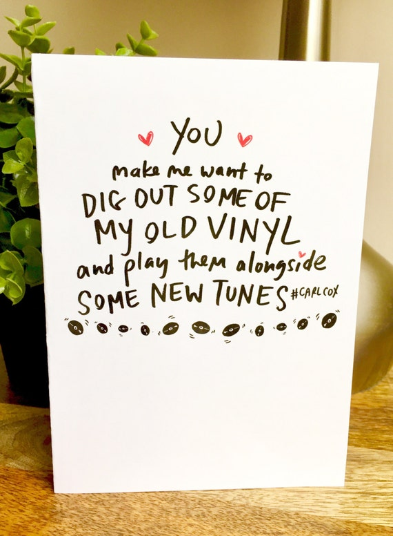 Carl Cox DJ card, Funny Valentine's Day card, i love you this much card, hand lettered valentines day card, records, we are perfect, vinyl