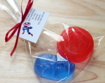 10 Packs of Captain American Soaps,Captain America Favors,Best Party Favor,Cute Birthday Party Favors,Geekery,Stocking Stuffer,Handmade Soap