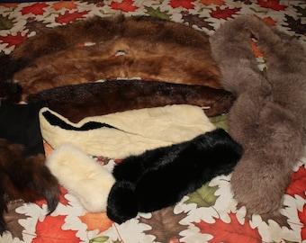 Large Lot of Mink, Rabbit, & Fox Fur for CRAFTING! Collars, Wrap, etc