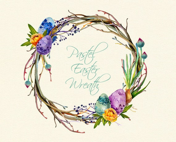 Easter clipart watercolor wreath Spring clip art Easter