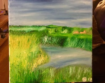 Oil painting - View from river in Afriston