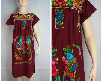 RESERVED FOR CHERYL Vintage Womens Burgundy Mexican Dress with Bright Floral Embroidery | Size M