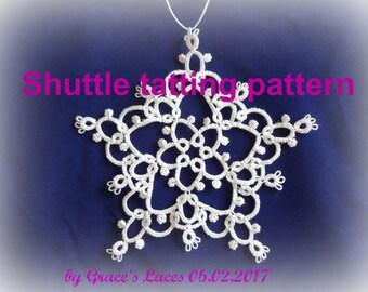 "snowflake pattern, pdf tatting pattern, instant download pattern, shuttle tatting pattern, ""Tina"" snowflake pattern"