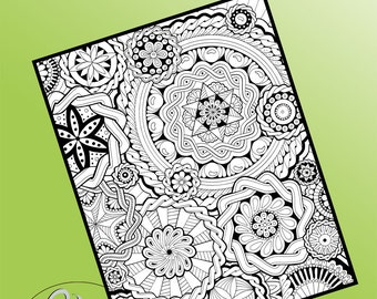 Printable Colouring Page - Many Paths #3 in Mandala Collage series